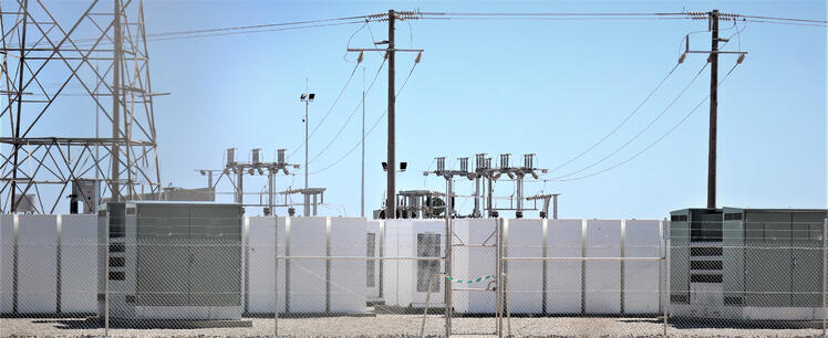 battery farm and power lines