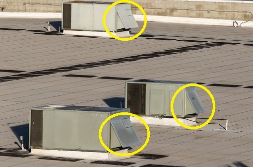 commercial rooftop units with economizers circled