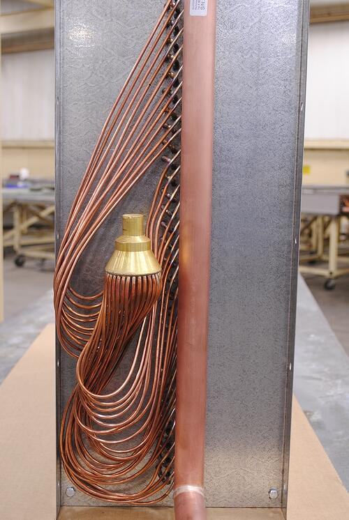side view of a refrigeration distributor and circuiting