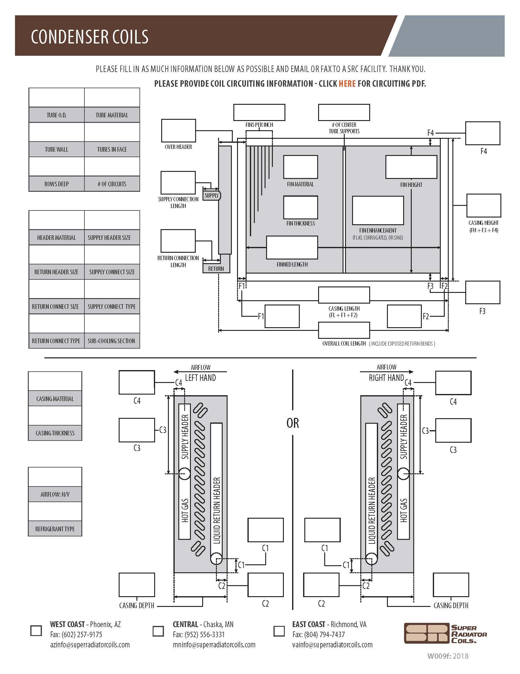Condenser Coils Spec Sheet