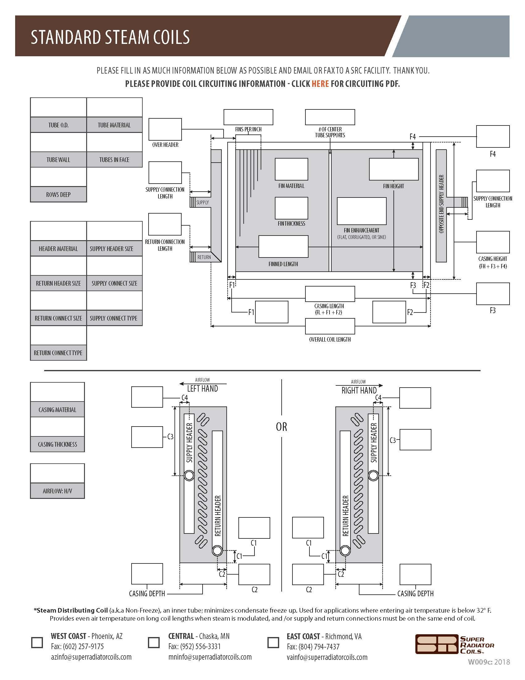 Standard Steam Coils Spec Sheet