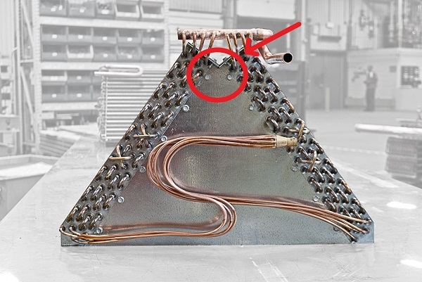 a-frame evaporator with arrow showing angle