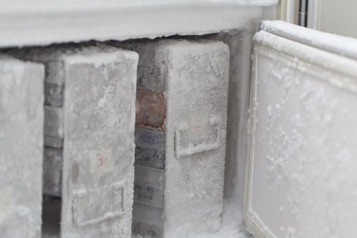 ultra-low temperature storage showing frost buildup