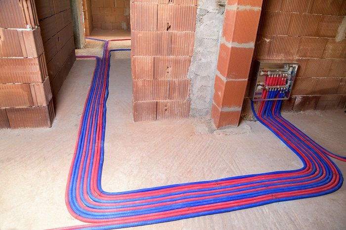 in-floor radiant heating system circulating glycol solution